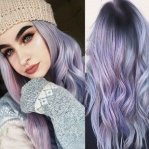"""28"""" Purple And Black Wig Ombre"""